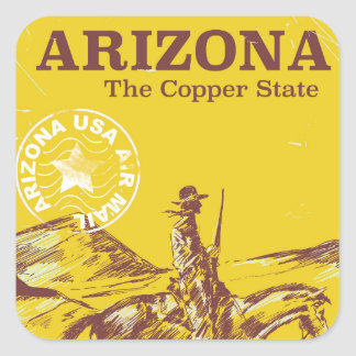 Arizona the copper state vintage travel poster square sticker