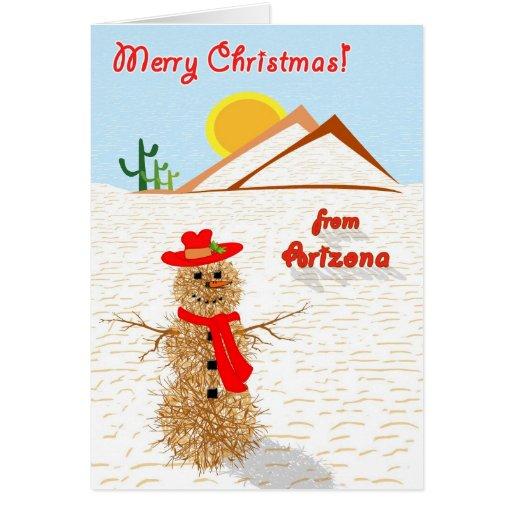 Arizona Tumbleweed Snowman Christmas Cards