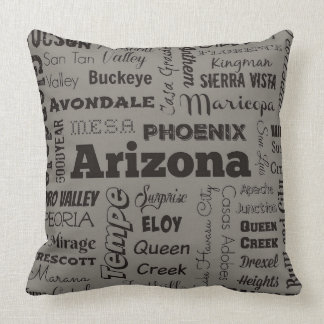 Arizona typography throw pillow in gray and black