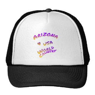 Arizona USA World country colorful text art Trucker Hat