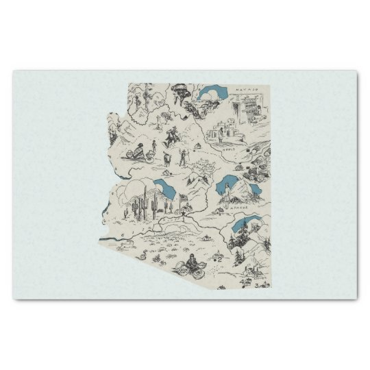 Arizona Vintage Picture Map Tissue Paper