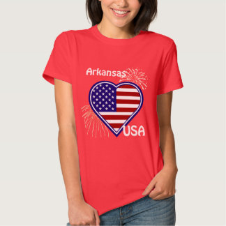 Arkansa July 4th Fireworks Heart Flag Red s Tee Shirts