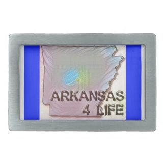"""Arkansas 4 Life"" State Map Pride Design Belt Buckle"