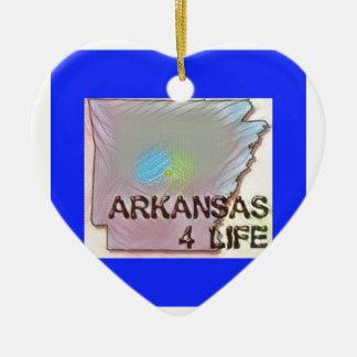 """Arkansas 4 Life"" State Map Pride Design Ceramic Ornament"
