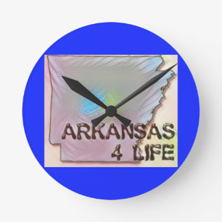 """Arkansas 4 Life"" State Map Pride Design Round Clock"