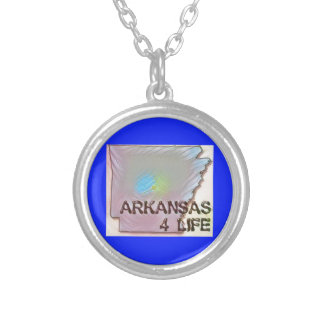 """Arkansas 4 Life"" State Map Pride Design Silver Plated Necklace"