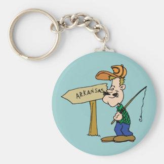 Arkansas AR Fisherman Vintage Travel Souvenir Basic Round Button Keychain