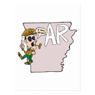 Arkansas AR Map & Douglas MacArthur Cartoon Postcard