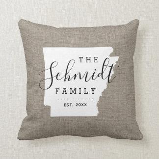 Arkansas Family Monogram State Throw Pillow