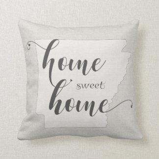 Arkansas - Home Sweet Home burlap-look Throw Pillow