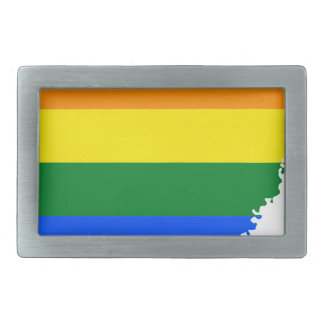 Arkansas LGBT Flag Map Belt Buckle
