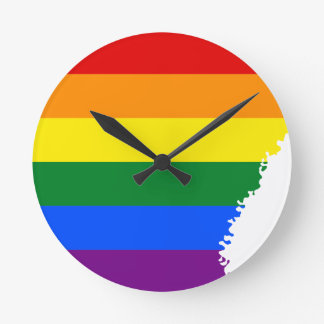 Arkansas LGBT Flag Map Round Clock