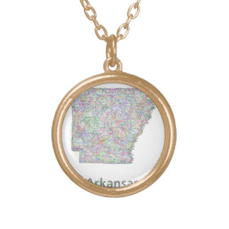 Arkansas map gold plated necklace
