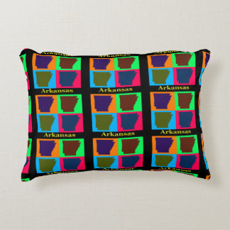 Arkansas Map Silhouette Colorful Pop Art Decorative Pillow