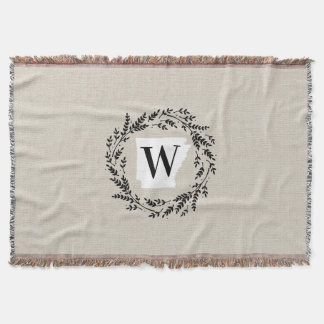 Arkansas Rustic Wreath Monogram Throw Blanket