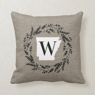 Arkansas Rustic Wreath Monogram Throw Pillow