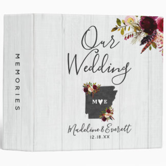 Arkansas State Destination Wedding Photo Album Vinyl Binders
