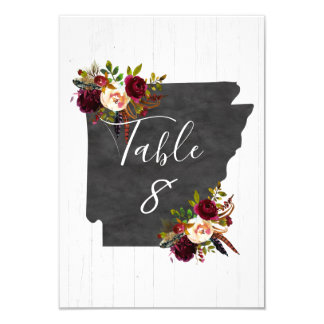 Arkansas State Destination Wedding Table Numbers