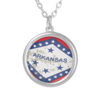 Arkansas State Flag Grunge Silver Plated Necklace