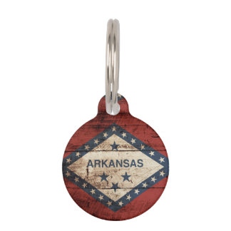 Arkansas State Flag on Old Wood Grain Pet ID Tag