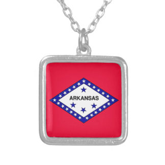 Arkansas State Flag Silver Plated Necklace