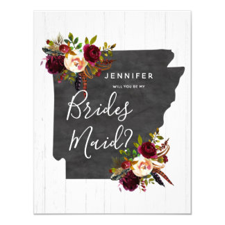 Arkansas State Floral Will You Be My Bridesmaid Card