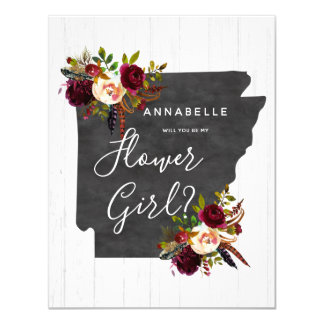 Arkansas State Floral Will You Be My Flower Girl Card