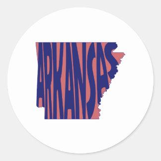 Arkansas State Name Word Art Blue Round Sticker
