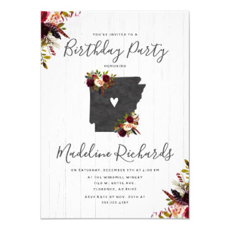 Arkansas State Rustic Birthday Party Invitation