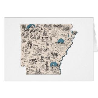 Arkansas Vintage Picture Map Card