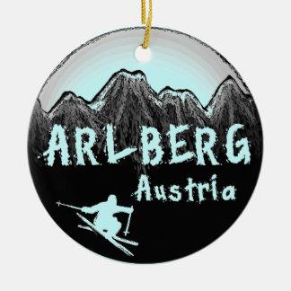 Arlberg Austria skier Ceramic Ornament
