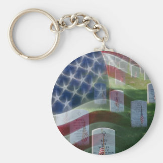 Arlington National Cemetery, American Flag Basic Round Button Keychain