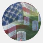 Arlington National Cemetery, American Flag Round Sticker