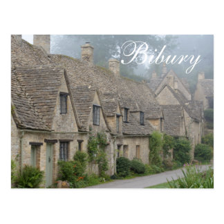 Arlington Row, Cotswolds, 'Bibury' text postcard