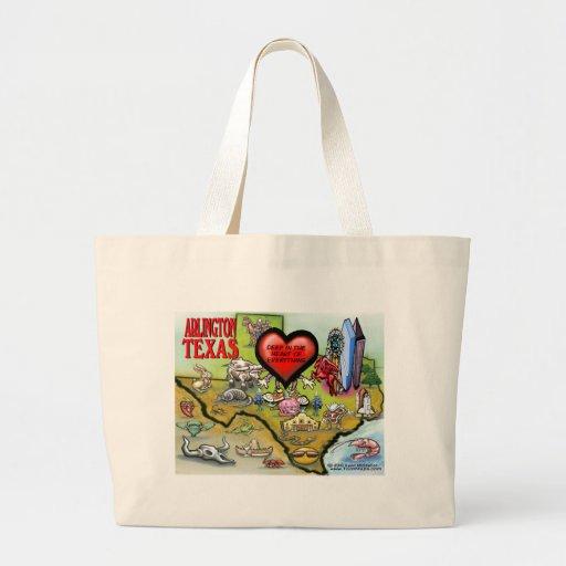 Arlington Texas Cartoon Map Tote Bags