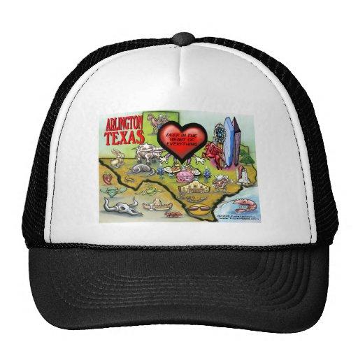 Arlington Texas Cartoon Map Mesh Hat