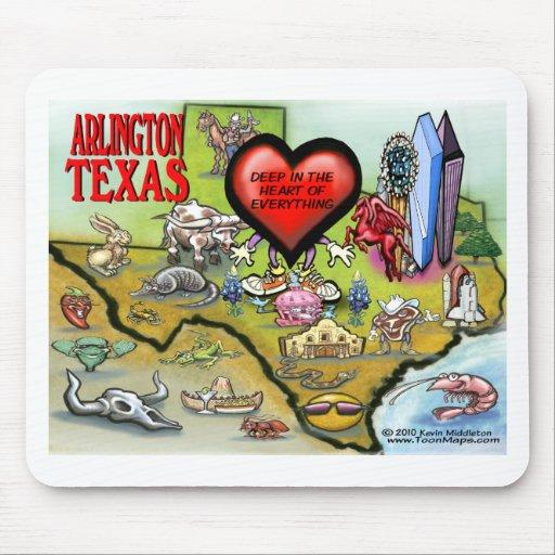 Arlington Texas Cartoon Map Mouse Pads