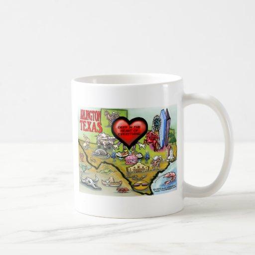 Arlington Texas Cartoon Map Coffee Mug