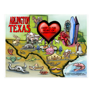 Arlington Texas Cartoon Map Postcard