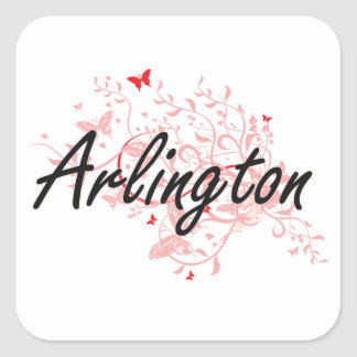 Arlington Texas City Artistic design with butterfl Square Sticker