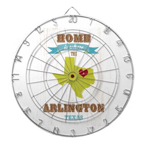 Arlington, Texas Map – Home Is Where The Heart Is Dart Board