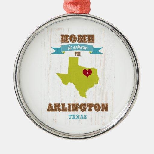 Arlington, Texas Map – Home Is Where The Heart Is Christmas Ornaments