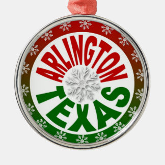 Arlington Texas red green snowflake ornament