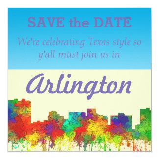 "Arlington Texas Skyline-SG 5.25"" Square Invitation Card"