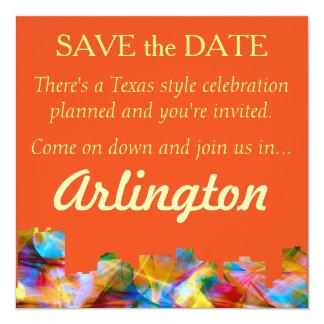"ARLINGTON TEXAS SKYLINE VIBRANCE - 5.25"" SQUARE INVITATION CARD"