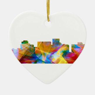 ARLINGTON TEXAS SKYLINE VIBRANCE - CERAMIC HEART ORNAMENT