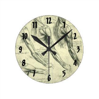 Arm and Shoulder Muscles Anatomy Leonardo da Vinci Round Wall Clock