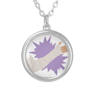 Arm Cast Silver Plated Necklace