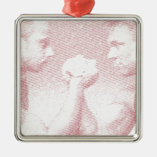 arm wrestling arm force Silver-Colored square ornament