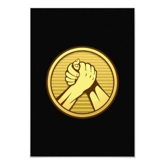 "Arm wrestling Gold 3.5"" X 5"" Invitation Card"
